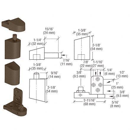 C.R. LAURENCE 0P41LHDU CRL Dark Bronze Offset Left Hand Pivot Set with 3/32