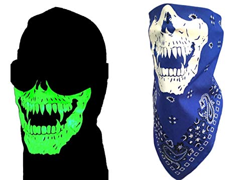 Blue Paisley Cotton Bandana Glow In The Dark Neon VAMPIRE Fangs Skull Adjustable Tie Close Reversible Face Shield For Motorcycle Riders -