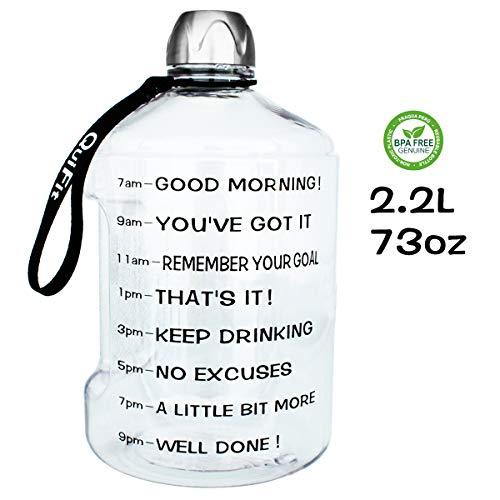 (QuiFit 73OZ/2.2L Water Bottle Reusable Leak-Proof Drinking Water Jug for Outdoor Camping BPA Free Plastic Sports Water Bottle with Daily Time Marked)