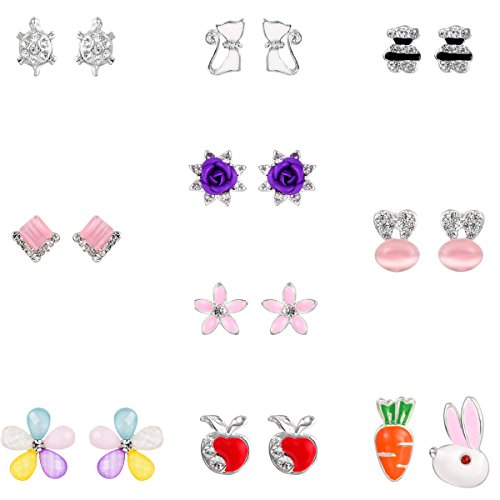 10 Pairs Silver Plated Post Cute Animal Fruit Stud Earrings Set Hypo-Allergenic(Bear Cat tortoise (Animal Silver Jewelry Set)