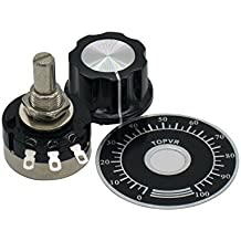 Taiss/2pcs RV24YN20S Single Turn Carbon Film Rotary Taper Potentiometer + 2pcs A03 knob + 2pcs dials