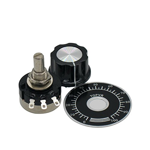 2pcs RV24YN20S Single Turn Carbon Film Rotary Taper Potentiometer Used for Inverter speed regulation. Motor speed control + 2pcs A03 knob + 2pcs dials (B103 10K ohm) by Taiss