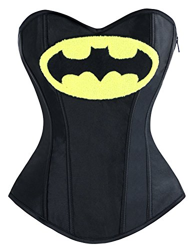 Lusiya Women's Superhero Batgirl Heroine Halloween Costume Overbust Corset Top Black XX-Large