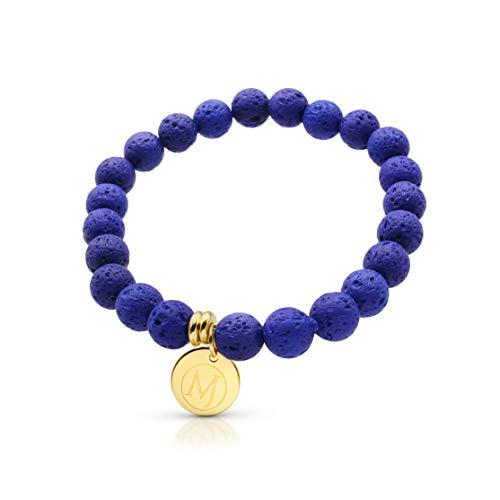 (Molten Jewel Essential Oil Bracelet, Anxiety Bracelet, Aromatherapy Bracelet, Lava Stone Bracelet, Essential Oil Diffuser Bracelet for Anxiety & Bracelet for Men & Women and Mens Bracelet)