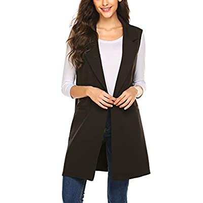 Meaneor Long Vest for Women, Long Sleeveless Duster Blazer Vest Jacket, S-XXL at Women's Clothing store
