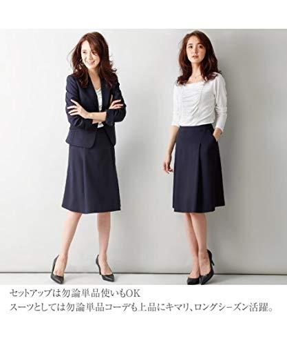 (スカートポケット付) ニッセン nissen タックフレア スカートスーツ 洗える レディーススーツ 26-38号 大きいサイズ