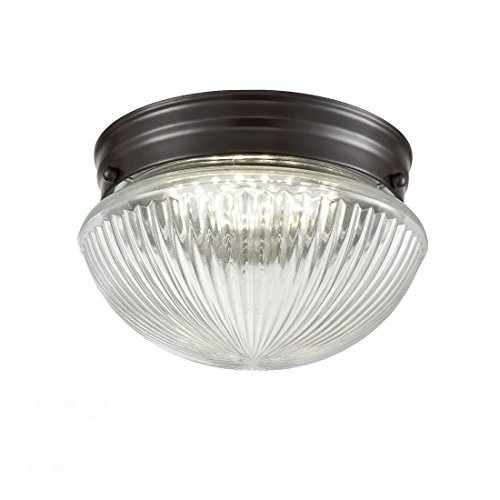Truelite Industrial Flush Mount Ceiling Light with Glass Shade Oil Rubbed Bronze Hanging Ceiling Fixture