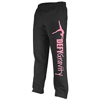 Defy Gravity Sweatpants | Gymnastics Apparel by ChalkTalk SPORTS | Black/Pink | Adult Small