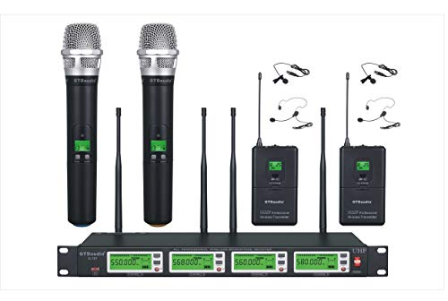 GTD Audio 4x800 Selectable Frequency Channels UHF Diversity Wireless Hand-held/Lavalier/Lapel/Headset Microphone Mic System 787 (2 Handheld & 2 -