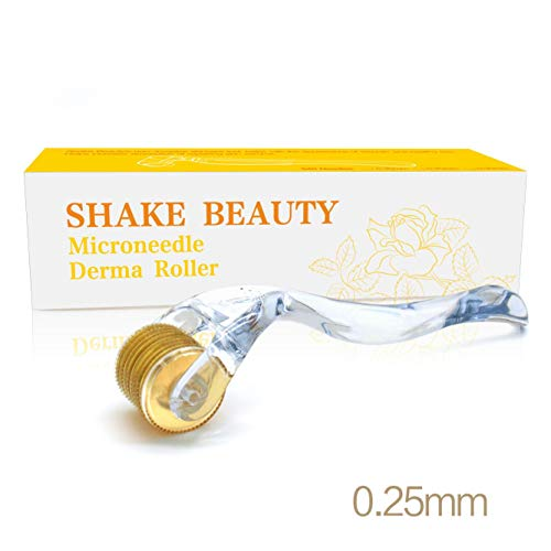 Derma Roller for Face 0.25mm - Cosmetic Microneedle Roller for Face 540 Titanium Micro Needles - Microdermabrasion - Includes Storage Case