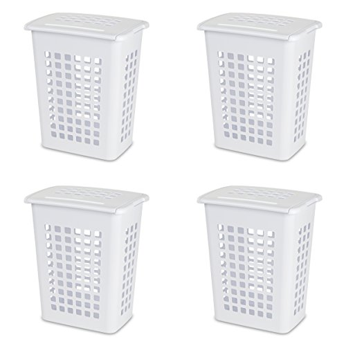 Sterilite 12238004 Rectangular LiftTop Laundry Hamper, White, 4-Pack (Hamper White)