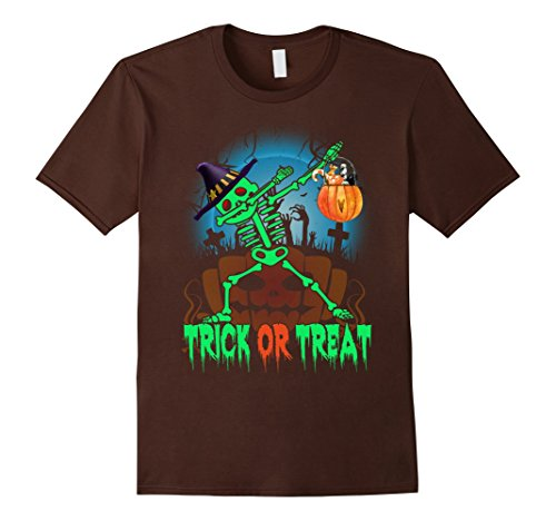 Mens Kids Cute Boys Halloween Dabbing Skeleton Shirt 2XL Brown - Brown Bag Costume Ideas