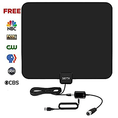 [2018 UPGRADED] Amplified HD Digtial TV Antenna with 50-70 Miles Long Range - Detachable Signal Booster Support Full HD 1080P 4K All TVs for Indoor w/Longer Coax Cable