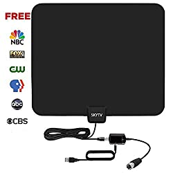 [2018 Upgraded] Amplified HD Digtial TV Antenna with 50-85 Miles Long Range - Detachable Signal Booster Support Full HD 1080P 4K All TVs for Indoor w/Longer Coax Cable