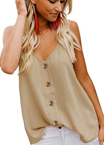 Poppin Kicks Women's Sexy V-Neck Cami Strappy Button-Down Tank Top Adjustable Spaghetti Straps Casual Shirts Beige L]()