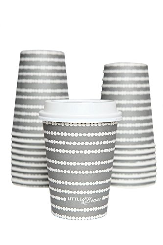 (100 Paper Hot Cups With Lids -12 Oz Stylish Designer Look Disposable Thick Paper Coffee Cup in Gray Spotty Design - Best Quality Guaranteed by Little Beans Coffee)