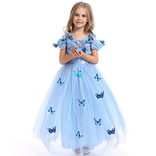 Girls Princess Cinderella Dress Fancy Dress Butterfly Girl Costume (6-7 Years) Blue (Embellished Butterfly Dress)