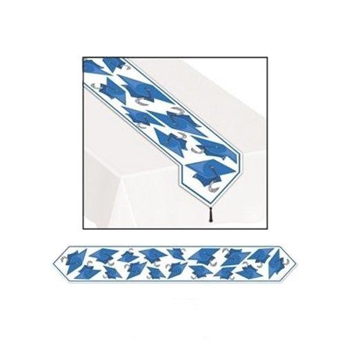 Printed Grad Cap Table Runner, Blue, 11in. x 6ft, Pkg/6