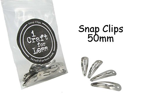 100 Snap Hair Clips - Silver Metal Tear Drop Shape with Hole - 50mm ()