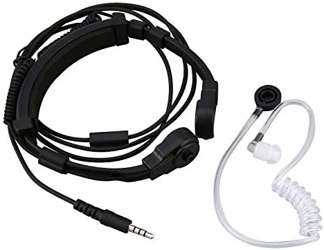 3.5mm Tactical Throat Microphone Covert Acoustic Tube Earpiece Headset for Phone