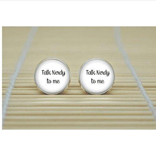 Talk Nerdy to Me Earrings Nerd word Jewelry glass Cabochon Earrings ()