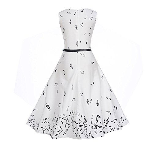 Women with Waist Ball Summer Gown Dress for Birdfly White Style Black Beam Party Belt Print amp; Vintage Pure Hepburn Hem White a5w6wFq7O