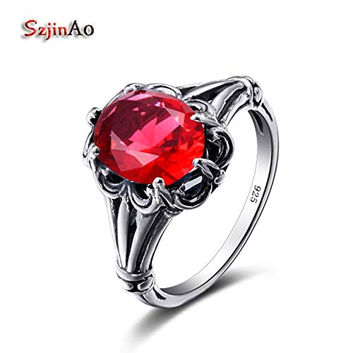 - Birthstone July 925 Sterling Silver Rings | Rose Flower Fashion Radiant Finger Rings | Red Ruby Ring | Wedding