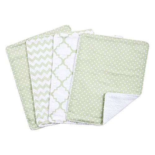 Trend Lab Sea Foam Burp Cloth Set, Sage (Green Burp Cloth Set)