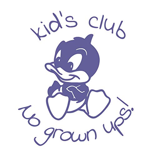 BellaCross Unofficial Baby Looney Tunes Wall Decal: Kid Club No Grown Ups - Made in The USA from Vinyl! This is One of Our Most Popular Kid's Wall Decals! - Purple