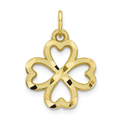 10k Yellow Gold 4 Leaf Clover Pendant Charm Necklace Good Luck Italian Horn Fine Jewelry Gifts For Women For Her