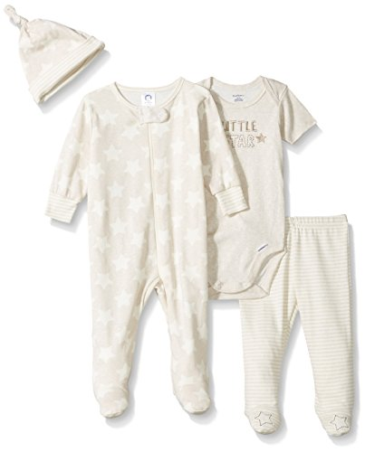 Set Footed (Gerber Baby Boys 4 Piece Sleep 'n Play, Onesies, Footed Pant and Cap Set, Star, 0-3 Months)