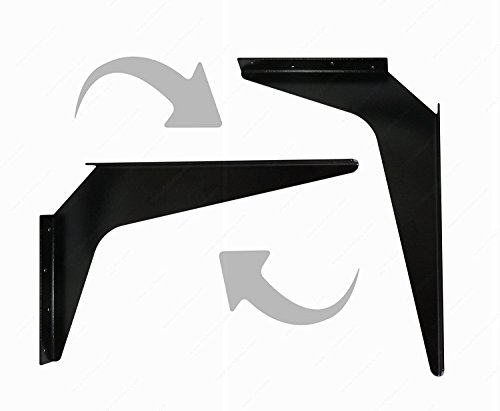 One Pair Workstation Heavy-Duty Reversible Brackets 1000lb. Load Capacity [per pair] (24'' x 29'', Black) by Brackets (Image #1)