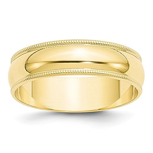 - Jewels By Lux 10K Yellow Gold 6mm Light Weight Milgrain Half Round Wedding Band Size 7