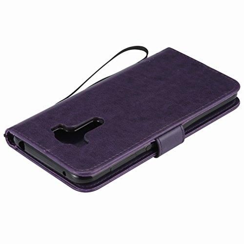 Custodia Asus Zenfone ZD552KL Cover Case, Ougger Alberi Gatto Printing Portafoglio PU Pelle Magnetico Stand Morbido Silicone Flip Bumper Protettivo Gomma Shell Borsa Custodie con Slot per Schede (Porp