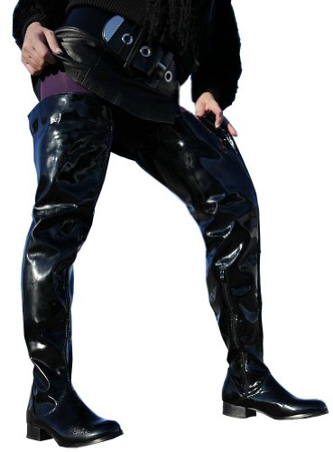 Lack Crotch de Material Negro para Botas Overkneestiefel Sintético Erogance Heels mujer Negro High RB5dBqw