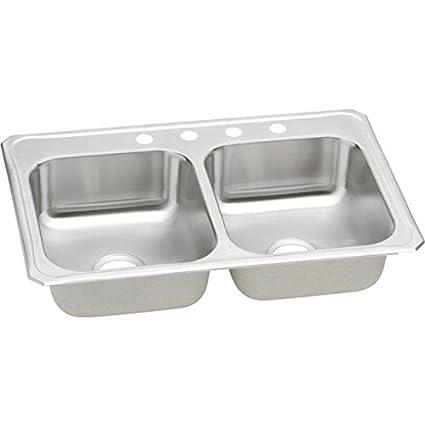 Elkay CR33225 Gourmet Celebrity Sink, Stainless Steel - Double Bowl ...