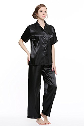 Shining Life Women's Short Sleeve Classic Satin Pajama Set (M, Solid Black) (Black Pajamas Short Sleeve)