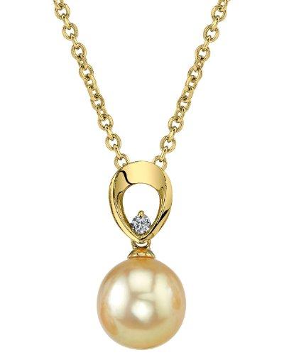 Mer du Sud d'or diamant et perle de culture Morgan Pendentif en or 14K