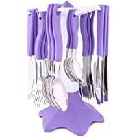 Bright Trendy Cutlery Set 24 pcs with Stand Purple [BE_03 Purple ]