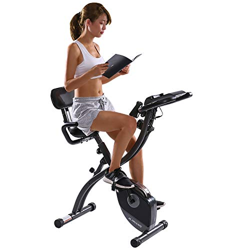 MaxKare Exercise Bike Stationary Indoor Workout Cycling Bike with Arm Resistance Bands,Magnetic Folding Recumbent Bike for Home,w/Pulse Sensor&LCD Monitor