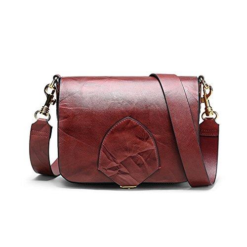 Sac à bandoulière en Cuir gaufré magnétique Retro Simple Messenger Bag, vin Rouge Loisirs