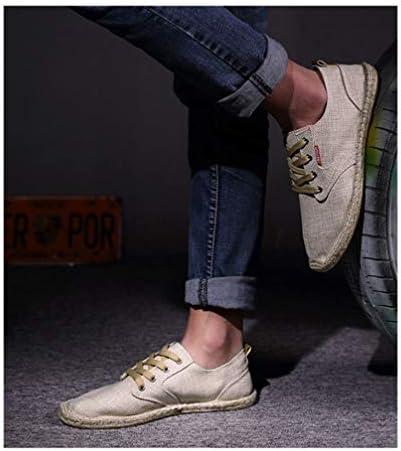 キャンバス シューズ 麻靴 レースアップ メンズ カジュアル ローファー エスパドリーユ ローカットフラット 滑り止め 履き脱ぎやすい 通学 海辺 私服 職場用 事務所 通気抜群 蒸れない 夏 布靴 かっこいい