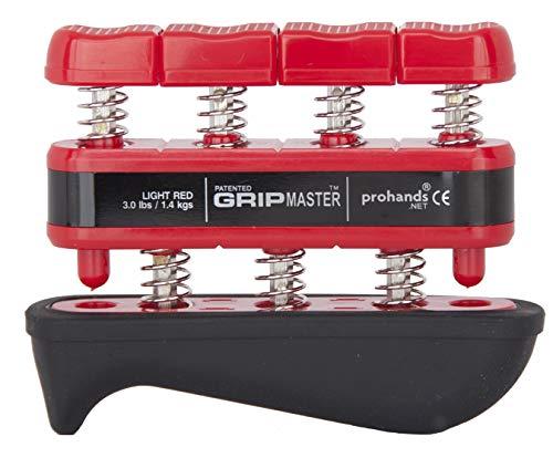Prohands Gripmaster Rehab Hand Exerciser, Finger Exerciser (Hand Grip Strengthener), Spring-Loaded, Finger-Piston System, Added Palm Cushion, (3 lb Light Tension, Red-Gripmaster Rehab)