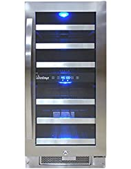 Vinotemp VNTVT-28-2Z-SSDST 28-Bottle Dual-Zone Connoisseur Series Wine Cooler, Stainless Steel