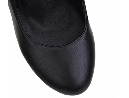 YCMDM alti calza Cuoio dell'unità di elaborazione delle donne della piattaforma impermeabile con fibbia Primavera Autunno Bianco Nero 34 35 36 37 38 39 , black , 100W