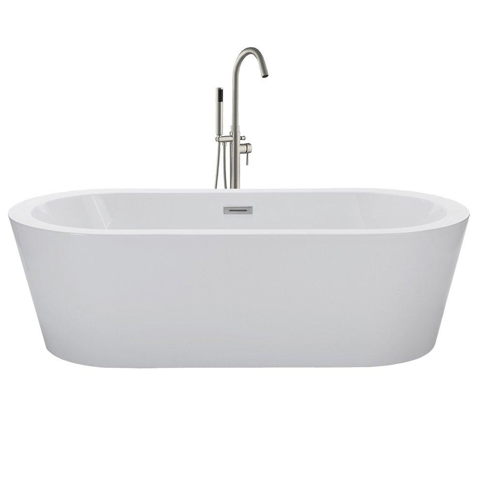 WOODBRIDGE 59'' Acrylic Freestanding Bathtub Contemporary Soaking Tub with Brushed Nickel Overflow and Drain, B-0012 / BTA-1506