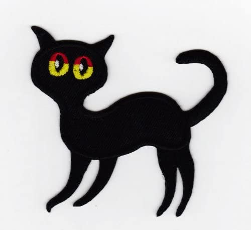 Aufn/äher B/ügelbild Aufb/ügler Iron on Patches Applikation Schwarze Katze Gothik