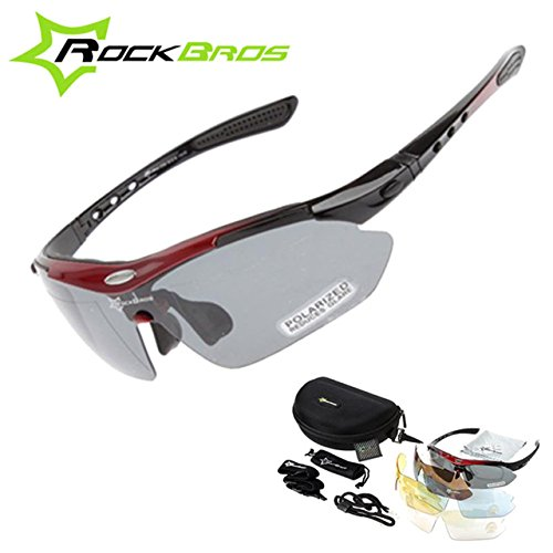3b8db5ffd0 New RockBros Polarized 5 Lens Cycling Sun Glasses Outdoor Sports Bicycle  clismo Bike Sunglasses TR90 Eyewear Goggles  Amazon.in  Clothing    Accessories