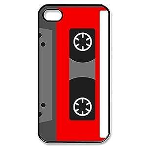 Cassette tape Custom Snap-on Hard Back Case for iphone 4/iphone 4s - Black 225-06