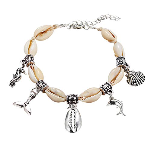 - FineMe Natural Cowrie Shell Dolphin Sea Horse Anklets Handmade Mermaid Tail Charm Anklet Bracelet Hawaiian Style for Women Girls (H: Shell & Charm)